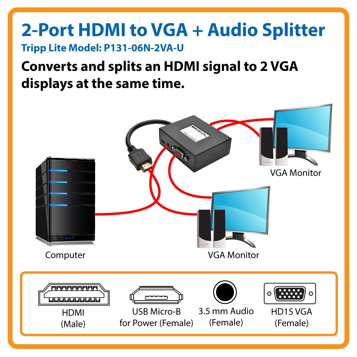 Tripp Lite Hdmi To Vga Audio Adapter Converter Splitter 2 Port Spliter Converts And Splits An Signal Displays