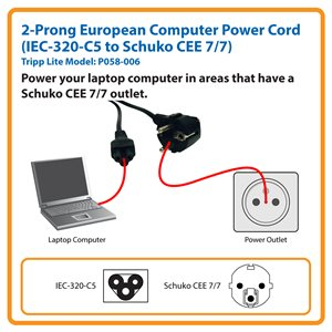 1.8 m (6 ft.) 2-Prong European Computer Power Cord (IEC-320-C5 to Schuko CEE 7/7)
