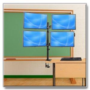 "Quad Flex-Arm Desk Clamp for Four 13""-27"" Flat-Screen Displays"