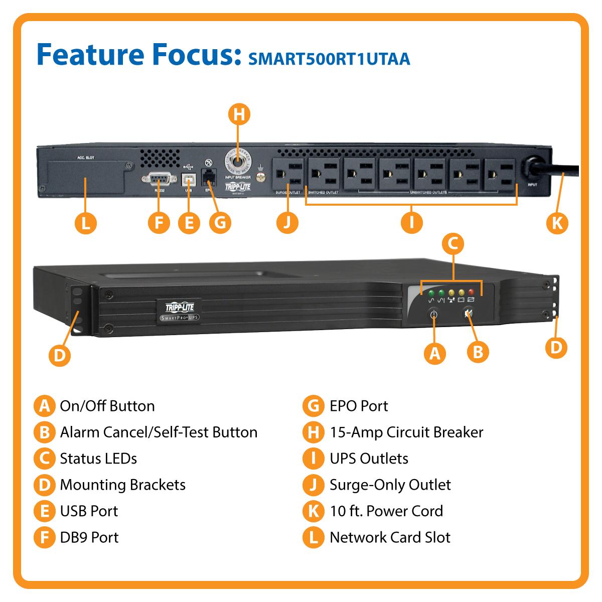 Product | Tripp Lite UPS Smart 500VA 300W Rackmount AVR 120V USB DB9