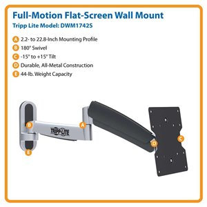 "Display TV LCD Wall Mount Arm Swivel Tilt 17"" - 42"" Flat Screen"