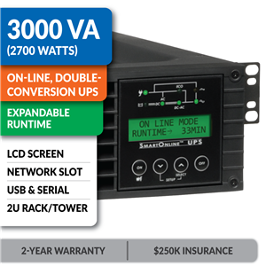 SU3000RTXLCD2U SmartOnline® 3000VA Double-Conversion Rack/Tower Sine Wave UPS with Expandable Runtime, Network Slot and LCD