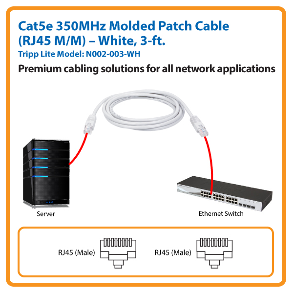 3-ft. Cat5e 350MHz Molded Patch Cable (White)