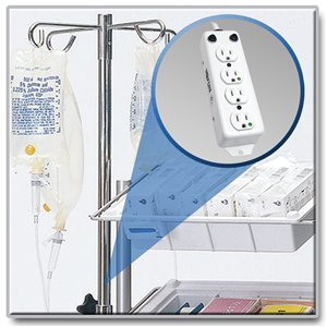 4-Outlet, Hospital-Grade Power Strip for IV Poles and Mobile Carts in Patient-Care Areas