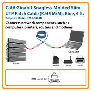 Cat6 Gigabit Snagless Molded Slim UTP Patch Cable (RJ45 M/M), Blue, 4 ft.