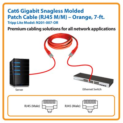 7-ft. Cat6 Gigabit Snagless Molded Patch Cable (Orange)