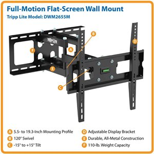 "Display TV LCD Wall Mount Arm Swivel Tilt 26"" - 55"" Flat Screen"