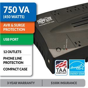 AVR750UTAA Ultra-Compact Line-Interactive UPS with USB Port