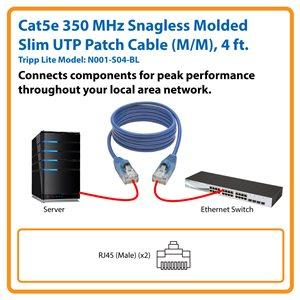 Cat5e 350 MHz Snagless Molded Slim UTP Patch Cable (RJ45 M/M), Blue, 4 ft.