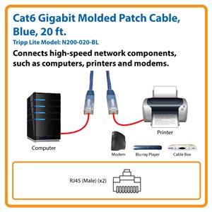 Cat6 Gigabit Molded Patch Cable (RJ45 M/M), Blue, 20 ft.