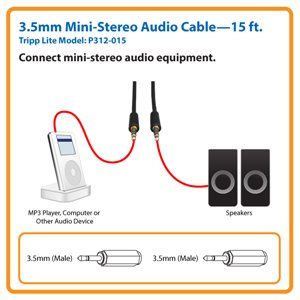 15-ft. 3.5mm Mini-Stereo Audio Cable (M/M)