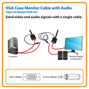 Send VGA Video and Stereo Audio Signals Up to 35 ft. from the Source (HD15 and 3.5 mm M/M)