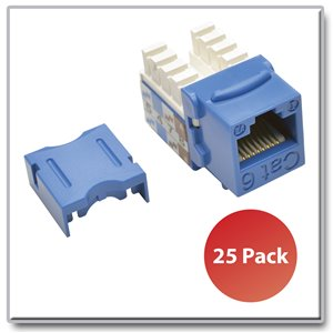 Cat6/Cat5e 110-Style Punch-Down Keystone Jacks, Blue, 25 Pack