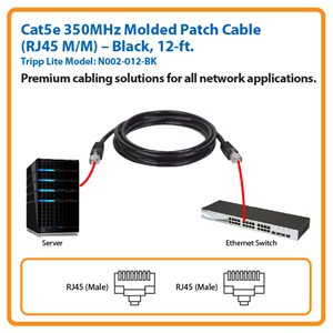 12-ft. Cat5e 350MHz Molded Patch Cable (Black)