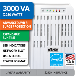 SMART3000VSTAA SmartPro® Line-Interactive Tower UPS with Expandable Runtime and Network Card Slot