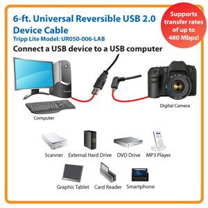 Left-Angled Universal Reversible USB 2.0 Hi-Speed Cable for Maximum Performance