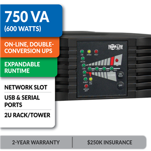 SU750RTXL2U SmartOnline® Double-Conversion Rack/Tower Sine Wave UPS with Expandable Runtime and Network Slot