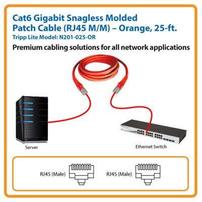 25-ft. Cat6 Gigabit Snagless Molded Patch Cable (Orange)