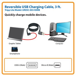 Charge Your Micro-USB Mobile Devices (Left/Right-Angle Reversible A to Right-Angle 5-Pin Micro-B, M/M)