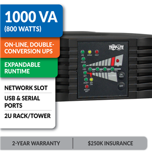 SU1000RTXL2UA SmartOnline® Double-Conversion Rack/Tower UPS Sine Wave UPS with Expandable Runtime and Network Slot
