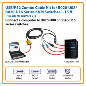15-ft. USB/PS2 Combo Cable for Tripp Lite's B020-U08/U16 Series KVM Switches