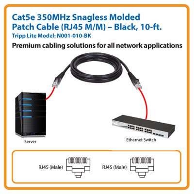 10-ft. Cat5e 350MHz Snagless Molded Patch Cable (Black)