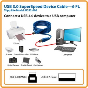 Connect a 3.0 USB Device to a USB Computer with SuperSpeed Transfer Rates-6 ft.