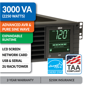 SM3000RM2UNTAA SmartPro® Line-Interactive Rack/Tower Sine Wave UPS with Expandable Runtime, Network Card and LCD