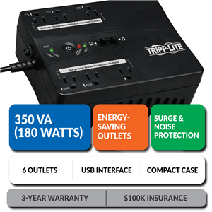 ECO350UPS Ultra-Compact Eco-Friendly Standby UPS with Energy-Saving Outlets
