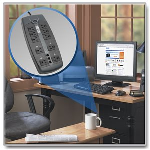 10 Outlet Surge Protector with Tel/DSL Protection, 8 ft. Cord and Right-Angle Plug