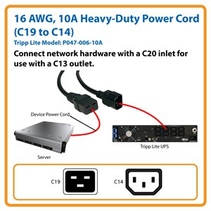 16 AWG, 10A Standard Power Cord for Network Hardware Extends Connections up to 6 ft. (C19 to C14)