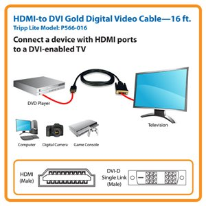 High Quality 16 ft. HDMI to DVI Gold Digital Video Cable with Lifetime Warranty
