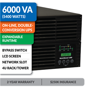 SU6000RT4UHVG SmartOnline® Hot-Swappable Double-Conversion Rack/Tower Sine Wave UPS with Bypass Switch, Expandable Runtime, Network Slot and LCD