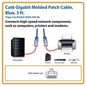 Cat6 Gigabit Molded Patch Cable (RJ45 M/M), Blue, 3 ft.