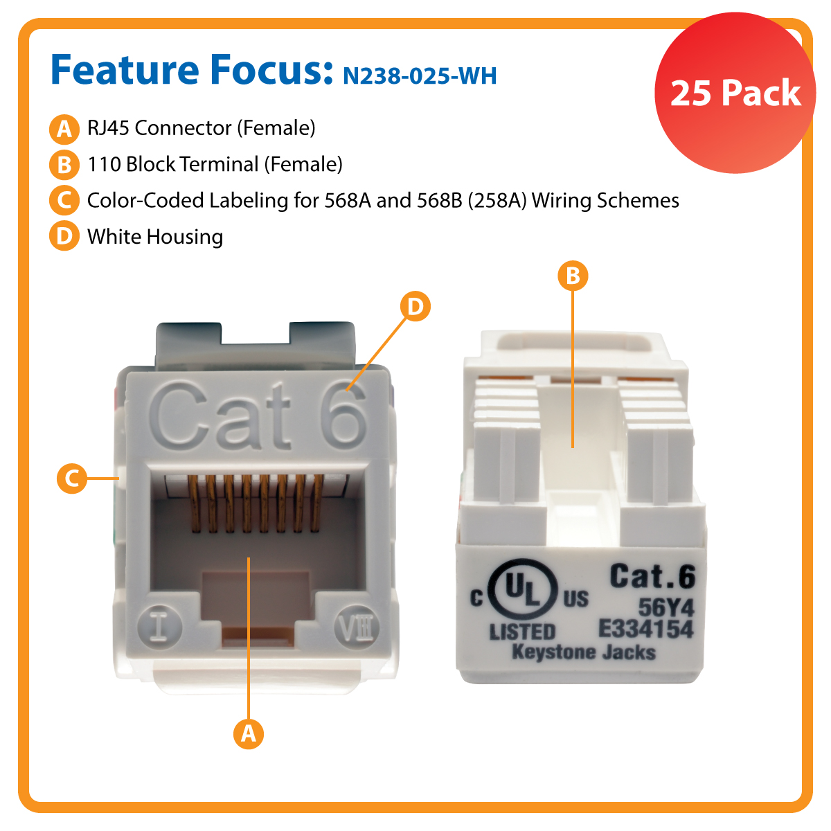 Neweggbusiness Tripp Lite Cat6 Cat5e 110 Style Punch Down Keystone Rj45 Jack Wiring Jacks White 25 Pack