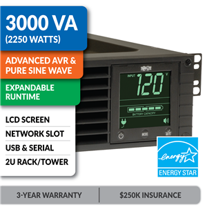 SMART3000RM2U SmartPro® Line-Interactive Rack/Tower Sine Wave UPS with Expandable Runtime, Network Slot and LCD