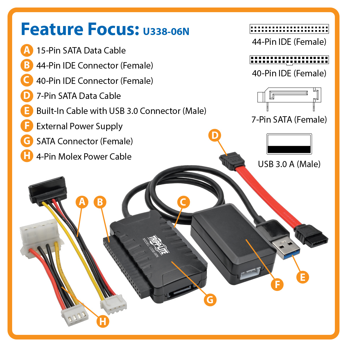 Tripp Lite Usb 30 Superspeed To Sata Ide Adapter With Built In Cabling Technology Discover What Is C2g Product Image