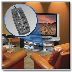 10 Outlet Surge Protector with Tel/DSL and Coax Protection, 8 ft. Cord and Right-Angle Plug