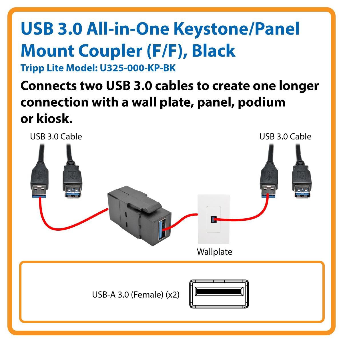 Tripp Lite Usb 30 Keystone Panel Mount Coupler F All In One Black Scsi To Wiring Diagram