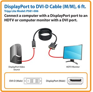 Send High-Quality Video Signals from a DisplayPort Computer to a DVI-D Display (M/M)