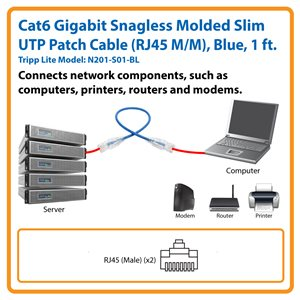 Cat6 Gigabit Snagless Molded Slim UTP Patch Cable (RJ45 M/M), Blue, 1 ft.