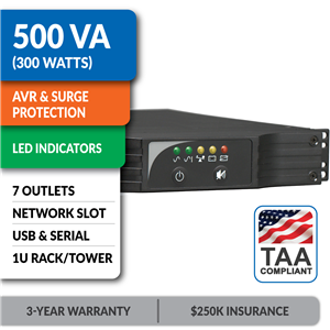 SMART500RT1UTAA SmartPro® Line-Interactive Rack/Tower UPS with Network Slot