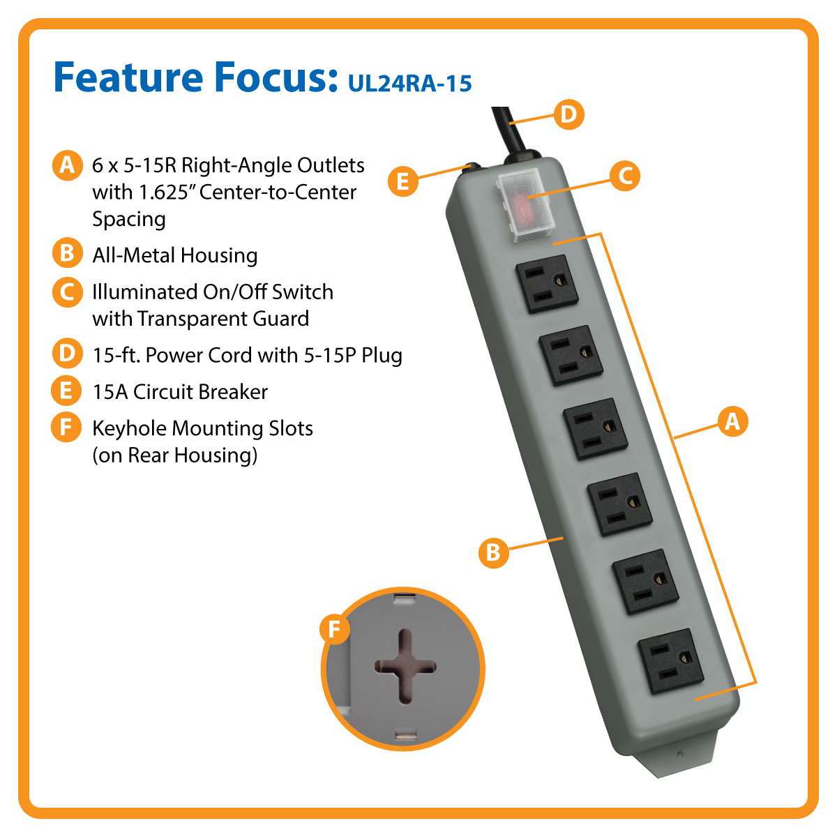 6outlet power strip with 15ft cord