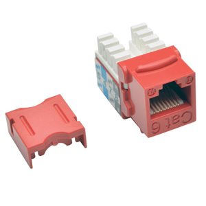Cat6/Cat5e 110-Style Punch-Down Keystone Jack, Red