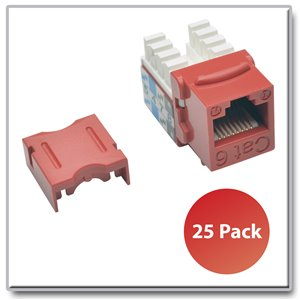 Cat6/Cat5e 110-Style Punch-Down Keystone Jacks, Red, 25 Pack