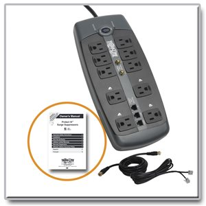 tripp lite surge protector 120v 10 outlet rj11 coax 8 cord 3345 joule by office depot officemax. Black Bedroom Furniture Sets. Home Design Ideas