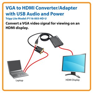 Converts VGA Video and USB Audio to HDMI