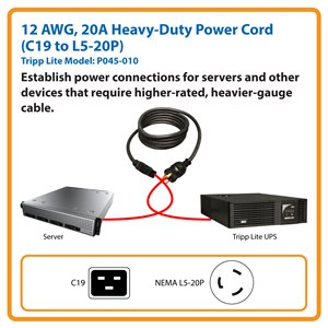 10 ft., Heavy-Duty Computer Power Cord for Servers (C19 to NEMA L5-20P)