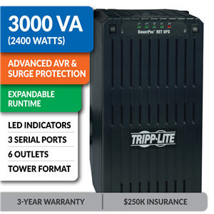 SMART3000NET SmartPro® Line-Interactive Tower UPS with Expandable Runtime and 3 Serial Ports