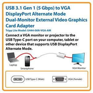 USB Type-C™ 3.1 Gen 1 (5 Gbps) to VGA DisplayPort Alternate Mode Dual-Monitor External Video Graphics Card Adapter